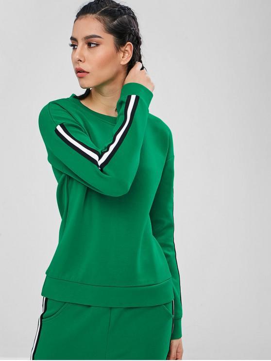 best ZAFUL Contrast Striped Trim Gym Sweatshirt - CLOVER GREEN M