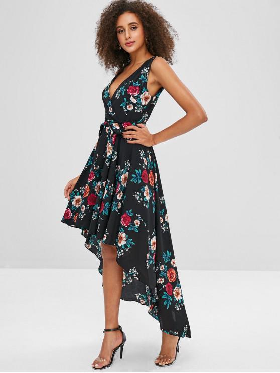 Vestido com estampa floral com cinto alto - Multi-A M