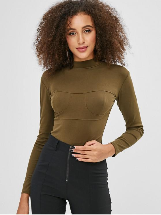 chic Long Sleeves Plain High Cut Bodysuit - ARMY GREEN M