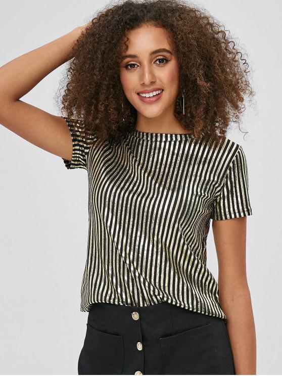 fashion Round Neck Striped Shiny Tee - GOLD M