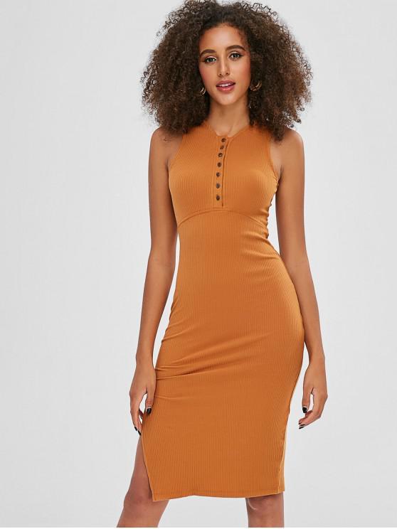 shops High Slit Plain Fitted Dress - ORANGE GOLD ONE SIZE