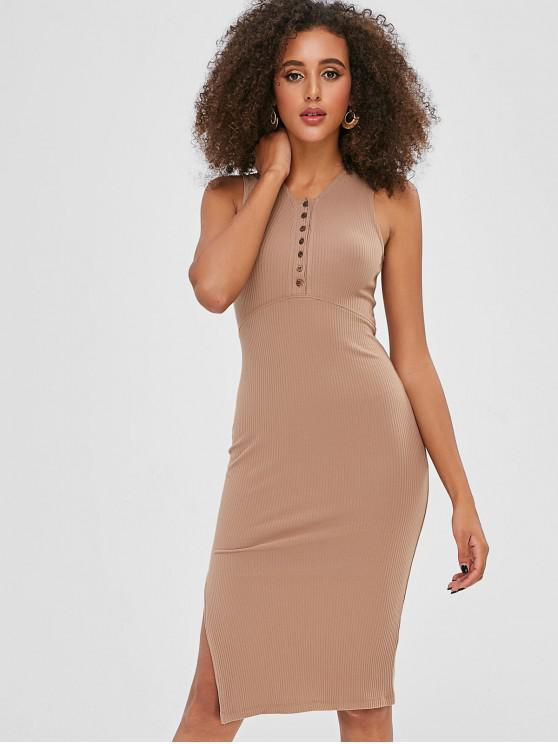 women's High Slit Plain Fitted Dress - TAN ONE SIZE