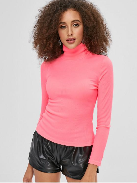 lady Mock Neck Ribbed Plain Top - WATERMELON PINK M