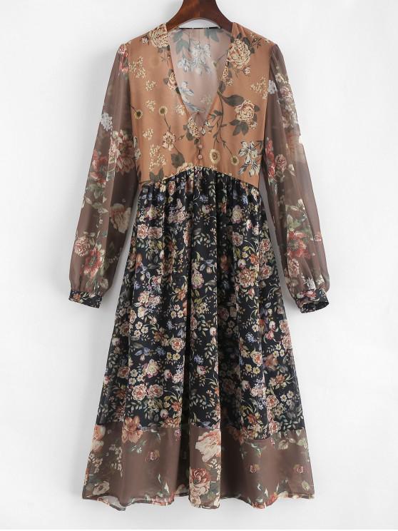 V Neck A linha Floral Print Dress - Multi L