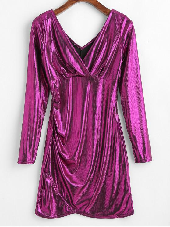 unique Metallic Plunging Mini Dress - PLUM ONE SIZE