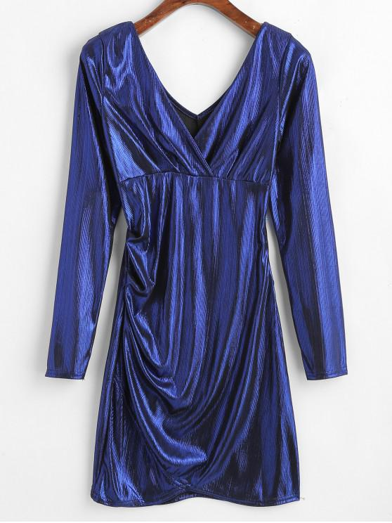 affordable Metallic Plunging Mini Dress - COBALT BLUE ONE SIZE