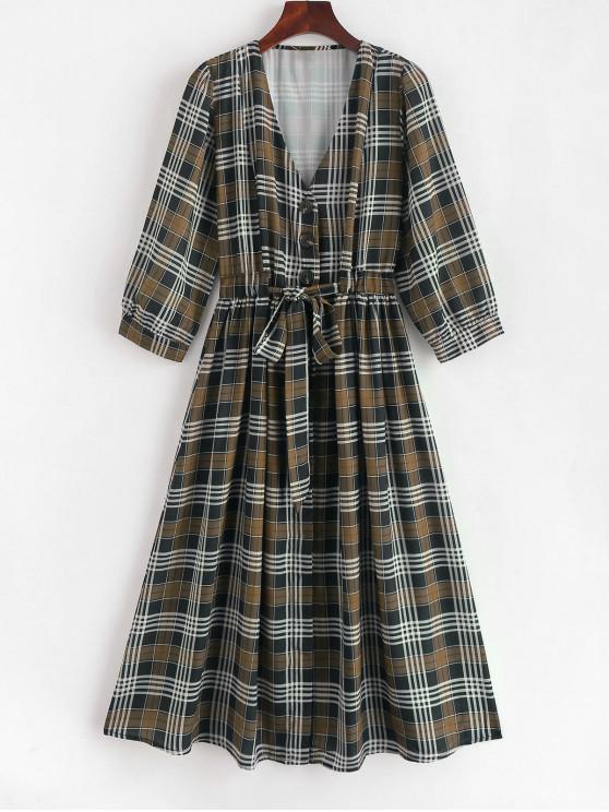 Botão Up Plaid Belted Flare Dress - Multi L