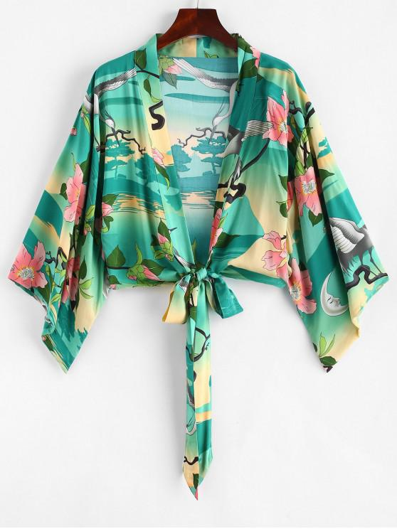 Guindaste floral impressão gravata blusa frontal - Multi L