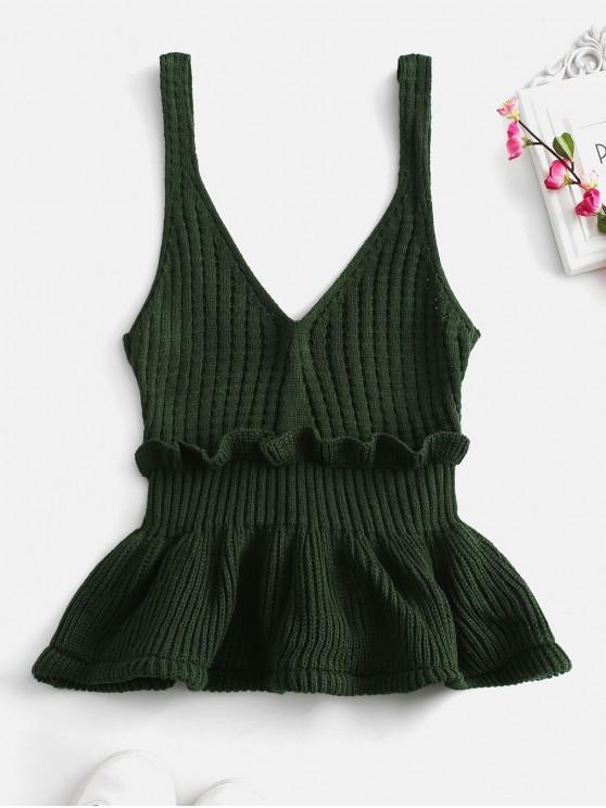 trendy Frilled Openwork Sweater Vest - MEDIUM SEA GREEN ONE SIZE