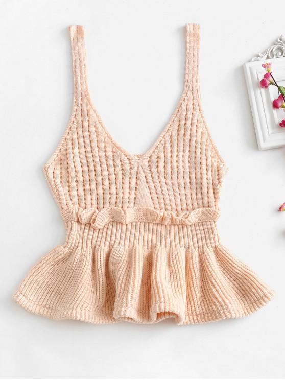 Colete de suéter com babados - Sakura rosa Um Tamanho