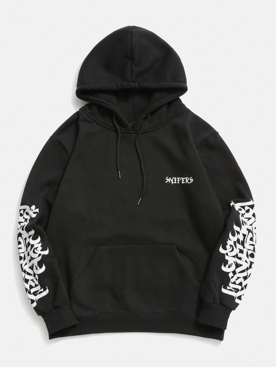 latest Hiphop Graphic Fleece Hoodie - BLACK XS