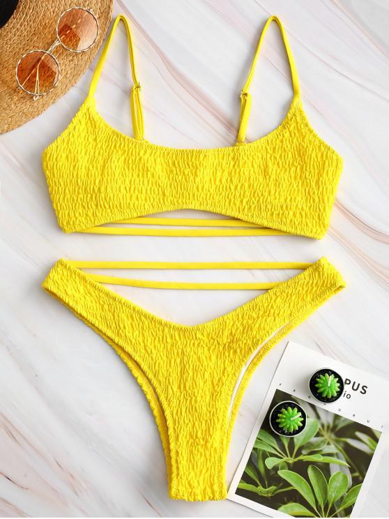 outfit ZAFUL Strappy Smocked Bikini Set - MUSTARD L