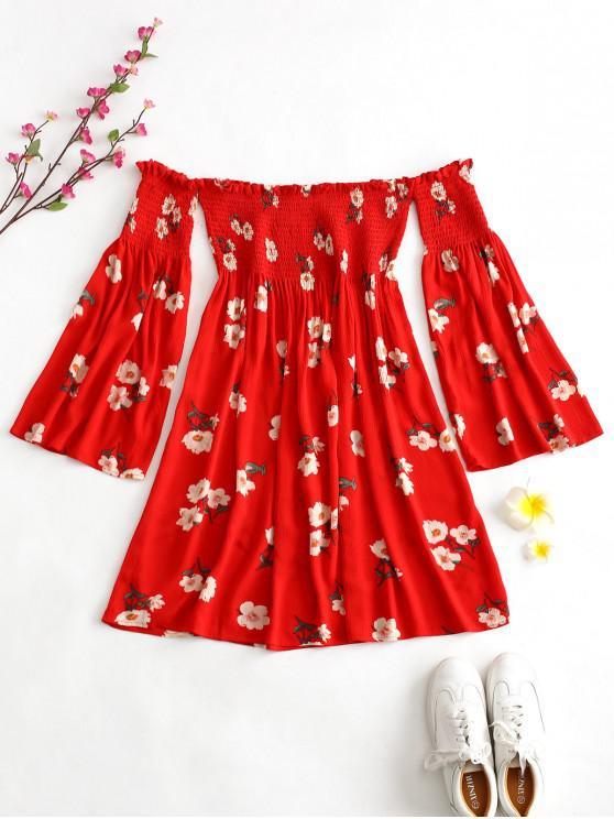 best ZAFUL Smocked Floral Off Shoulder Dress - LAVA RED L