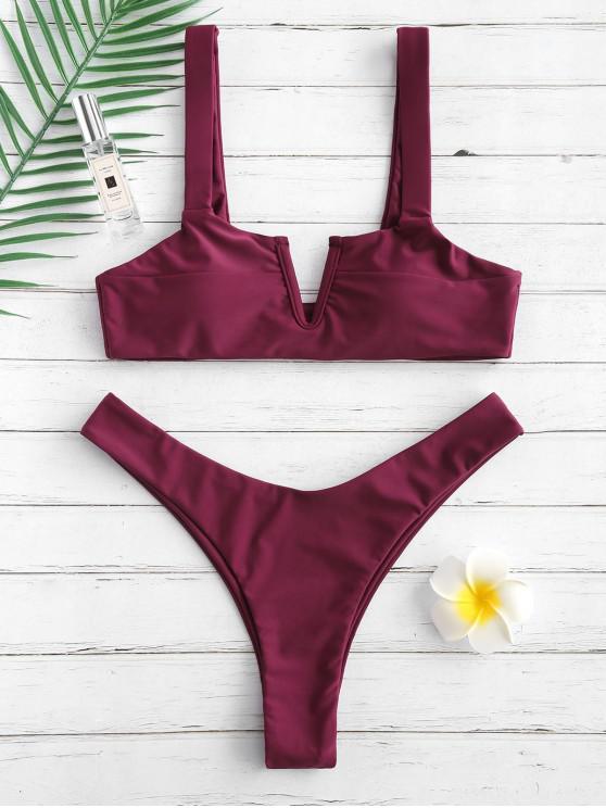 shops ZAFUL V Wired High Leg Bikini Set - DARK ORCHID S