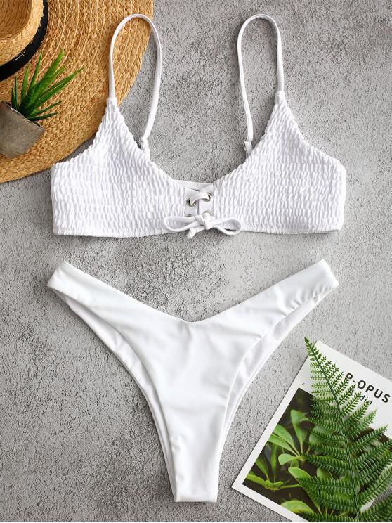 unique ZAFUL Grommets Smocked Bikini Set - WHITE L