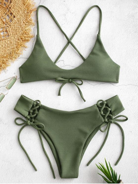 women's ZAFUL Lace-up Crisscross Ribbed Bikini Set - CAMOUFLAGE GREEN S