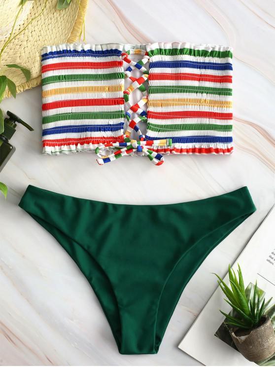new ZAFUL Lace-up Rainbow Striped Bandeau Bikini Set - MEDIUM FOREST GREEN M