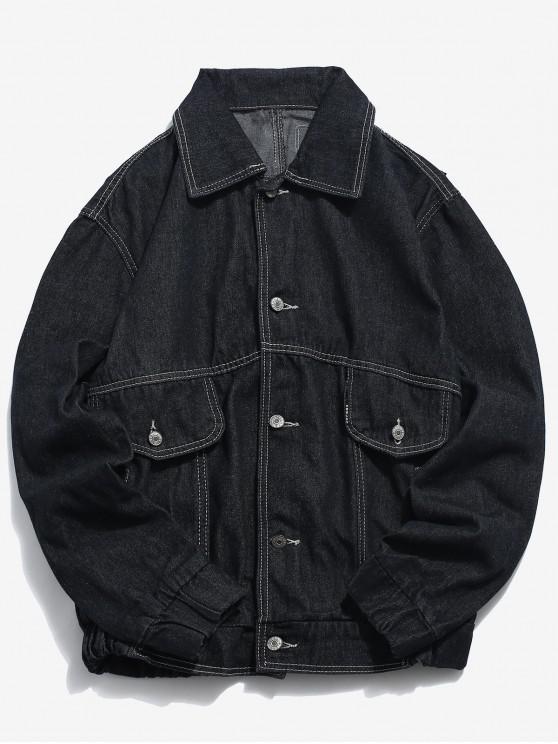 Chaqueta de mezclilla retro con diseño de bordado de etiqueta - Negro 2XL