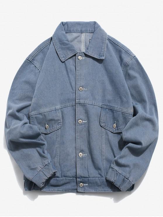 women's Label Embroidery Design Retro Denim Jacket - DENIM DARK BLUE 2XL