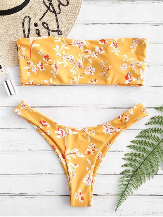 fashion ZAFUL High Leg Flower Bandeau Bikini Set - YELLOW L