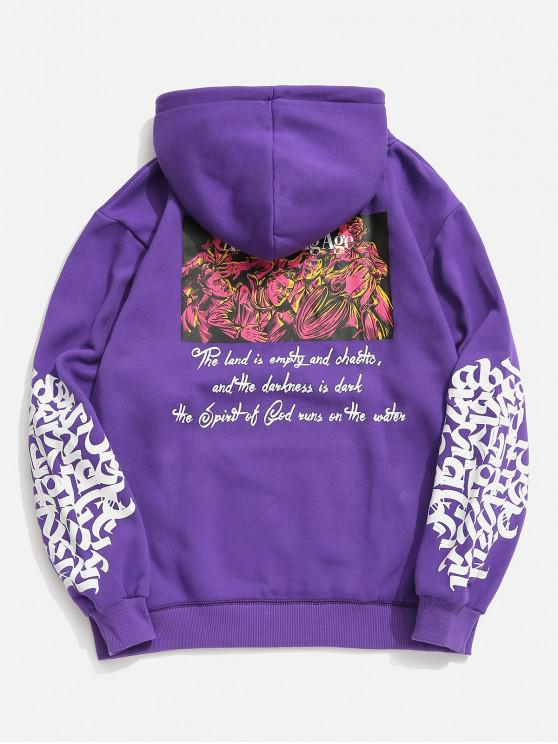 outfits Hiphop Graphic Fleece Hoodie - PURPLE XS