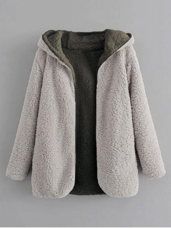 ladies Hooded Open Front Lamb Wool Teddy Coat - GRAY CLOUD L