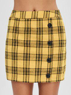 ZAFUL Plaid Short Fitted Skirt - Bee Yellow Xl