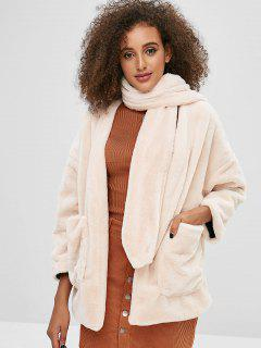 Scarf Open Front Faux Fur Coat - Warm White