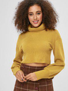 Suéter Liso Recortado De Cuello Alto - Amarillo S
