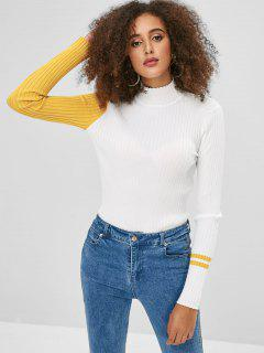 Stehkragenfarbblock Stripes Sweater - Weiß L