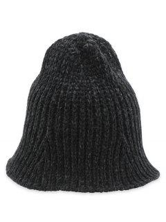 Crochet Knitted Foldable Bucket Hat - Black