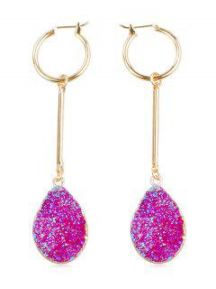 Charm Faux Gem Drop Earrings - Purple Flower