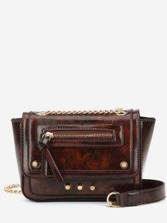 Rivet Decoration Solid Color Handbag - Deep Brown