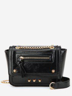 Rivet Decoration Solid Color Handbag - Black