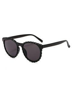 Rippled Edge Small Round Frame Sunglasses - Black
