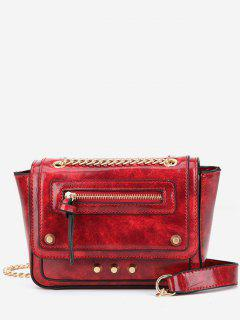 Rivet Decoration Solid Color Handbag - Lava Red