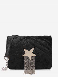 Fringe Star Chain Crossbody Bag - Black