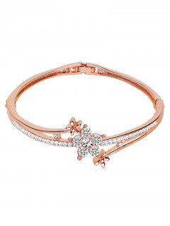 Rhinestone Inlaid Floral Design Bracelet - Rose Gold