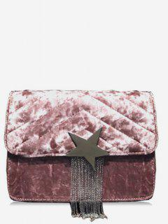 Fringe Star Chain Crossbody Bag - Light Pink