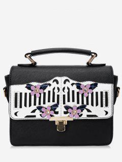 Floral Hollow Out Decoration Handbag - Black