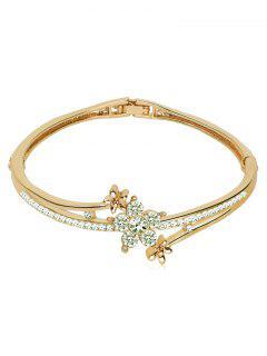 Rhinestone Inlaid Floral Design Bracelet - Champagne Oro