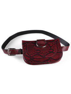 Leopard Removable Fanny Pack Belt Bag - Red Wine