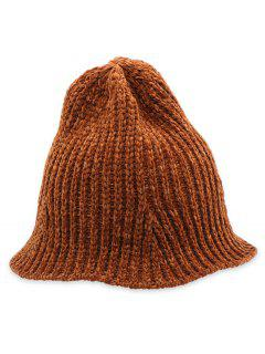 Crochet Knitted Foldable Bucket Hat - Brown