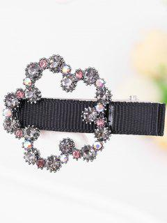 Colored Rhinestone Embellished Hair Clip - Gray