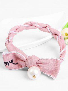 Bowknot Design Faux Pearl Decoration Hairpin - Pink