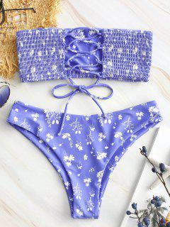 ZAFUL Con Estampado Floral Con Cordones Conjunto De Bikini Smocked - Azul Pizarra Claro S