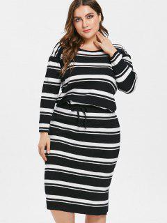 Plus Size Striped Drawstring Sweater Dress - Black 1x