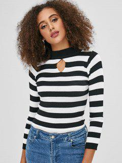 Keyhole Striped Sweater - Black