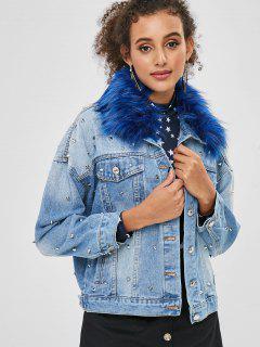 Veste Cloutée En Jean à Col En Fausse Fourure - Bleu Toile De Jean M