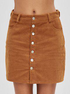 Button Up Pockets Corduroy Skirt - Tiger Orange L